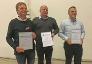 Vinderne af de tre nyhedspriser på Landsskuet. Foto: Rasmus Dalsgaard.