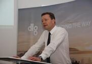 Administrerende direktør for DLG, Kristian Hundebøll, forklarer, at virksomheden har hentet 392 millioner kroner i Tyskland. Foto: Rasmus Dalsgaard.